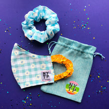 Load image into Gallery viewer, NYTP Scrunchie Face Mask with Free Matching Scrunchie Hair Tie and Gift Pouch
