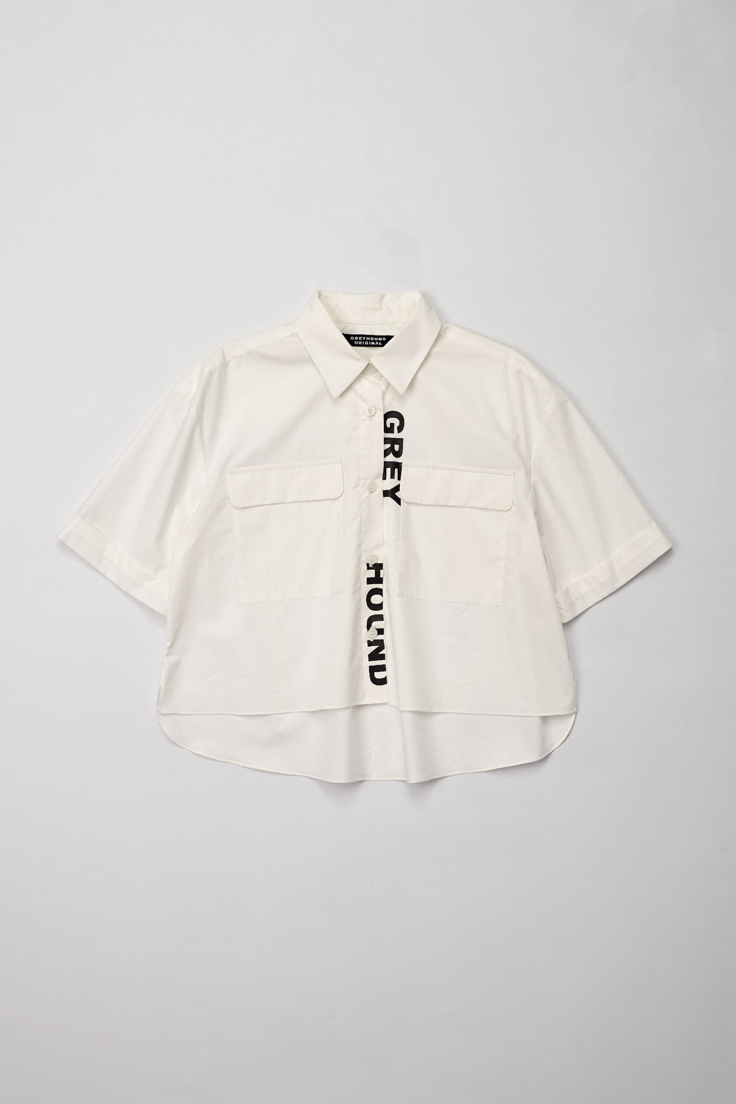 Logo Print Cropped Shirt