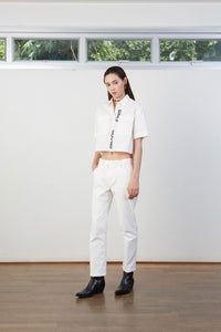 White Cross Over Jeans