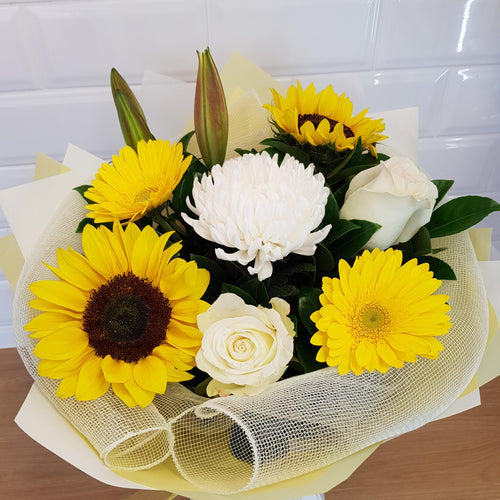 Yellow and white seasonal bouquet - Gold Coast City Florist