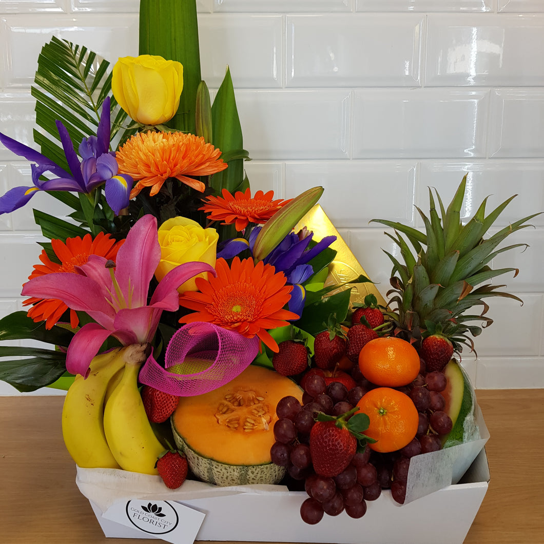 Fruit, flower and Chocolate hamper - Gold Coast City Florist