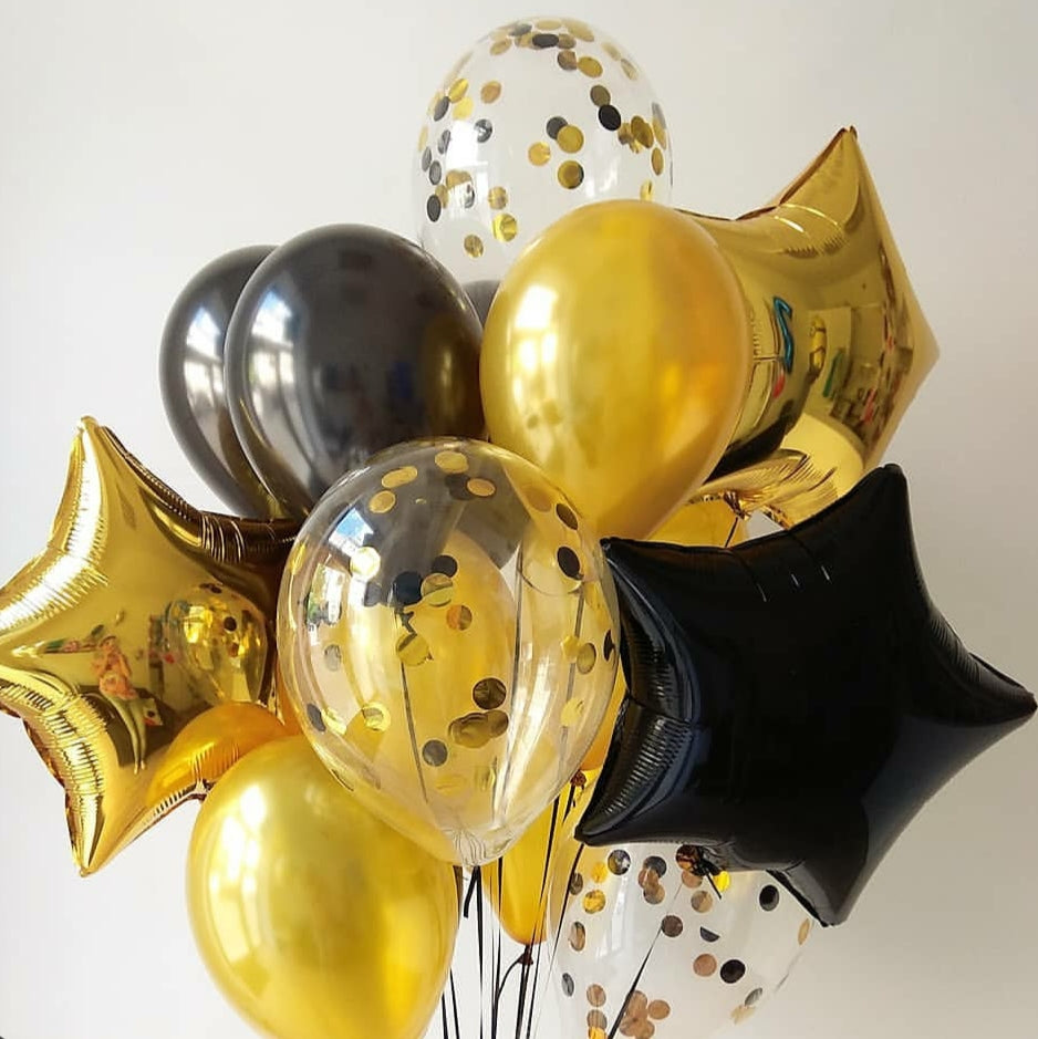 Mixed Foil, latex and Confetti balloon bouquet - Gold Coast City Florist
