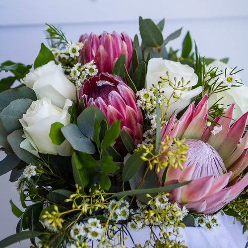 Protea with Natives and roses - Gold Coast City Florist