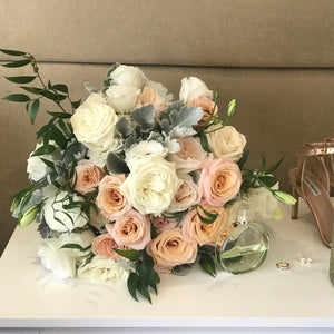 Blush pink and white wedding bouquet - Gold Coast City Florist