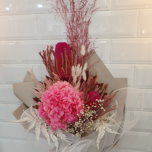 Premium Pink and white Dried flower bouquet - Gold Coast City Florist
