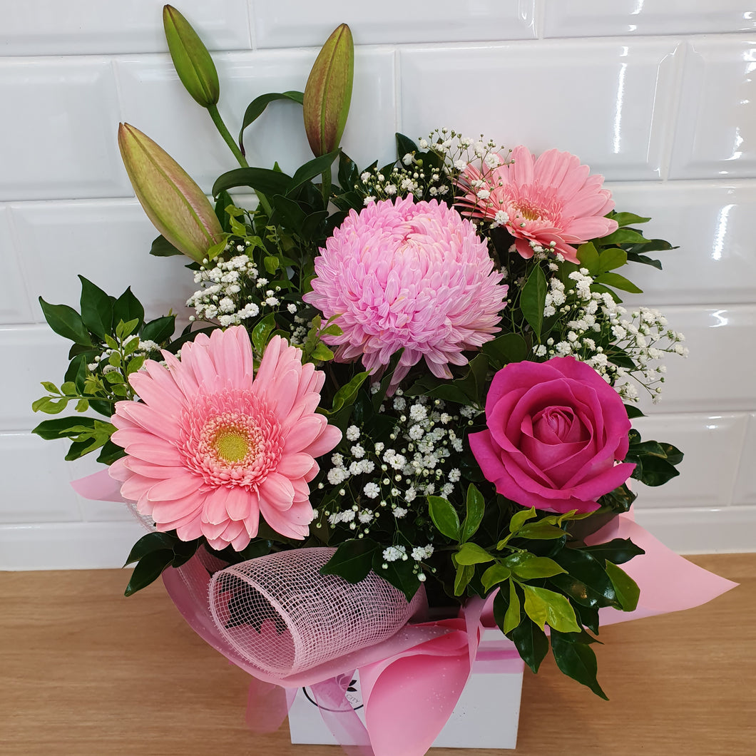 Pink and white seasonal box arrangement - Gold Coast City Florist