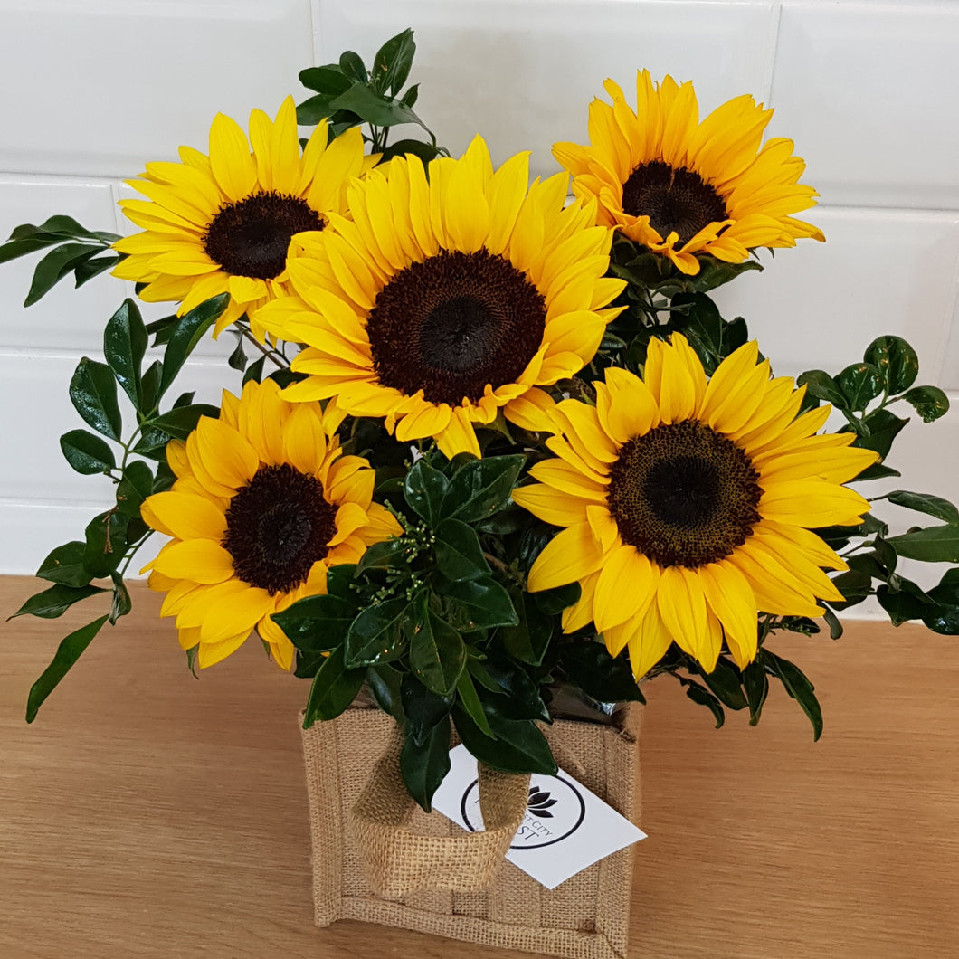Sunflowers in hessian bag - Gold Coast City Florist