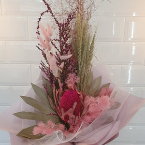 Pink and white tones Dried flower bouquet - Gold Coast City Florist