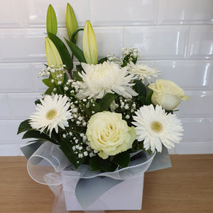 White Mixed seasonal box arrangement - Gold Coast City Florist