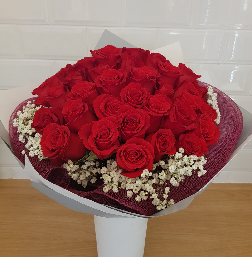 50 red rose bouquet with baby's breath - Gold Coast City Florist