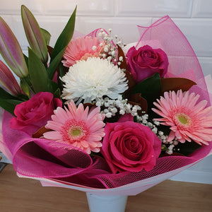 Pink and White Mixed seasonal bouquet - Gold Coast City Florist