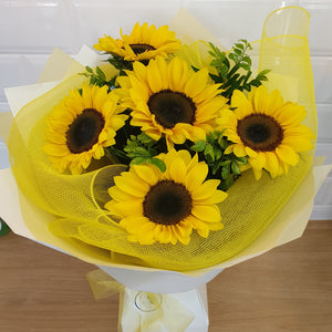 Sunflower bouquet in a cardboard vase - Gold Coast City Florist