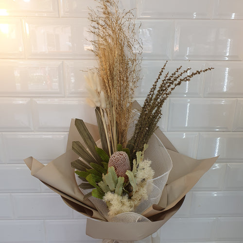 Natural tone Dried flower bouquet - Gold Coast City Florist