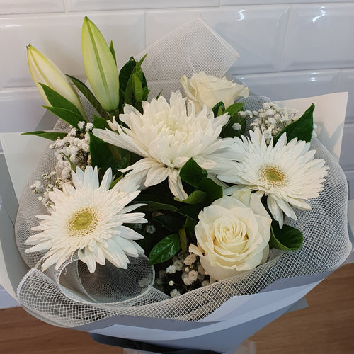White Mixed seasonal bouquet - Gold Coast City Florist