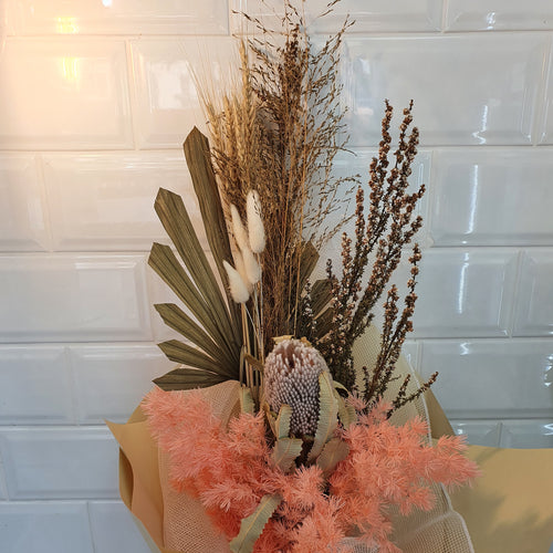 Apricot and Natural Dried Flower Bouquet - Gold Coast City Florist