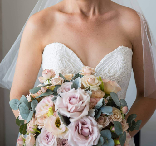 A Dusty pink and grey wedding bouquet - Gold Coast City Florist