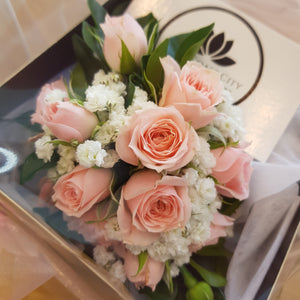 Wrist Corsage Roses with babies breath - Gold Coast City Florist