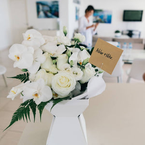 Elegant phaelanopsis orchid and rose bouquet - Gold Coast City Florist