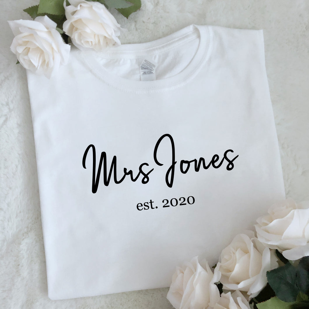 Personalised Mrs Surname T Shirt