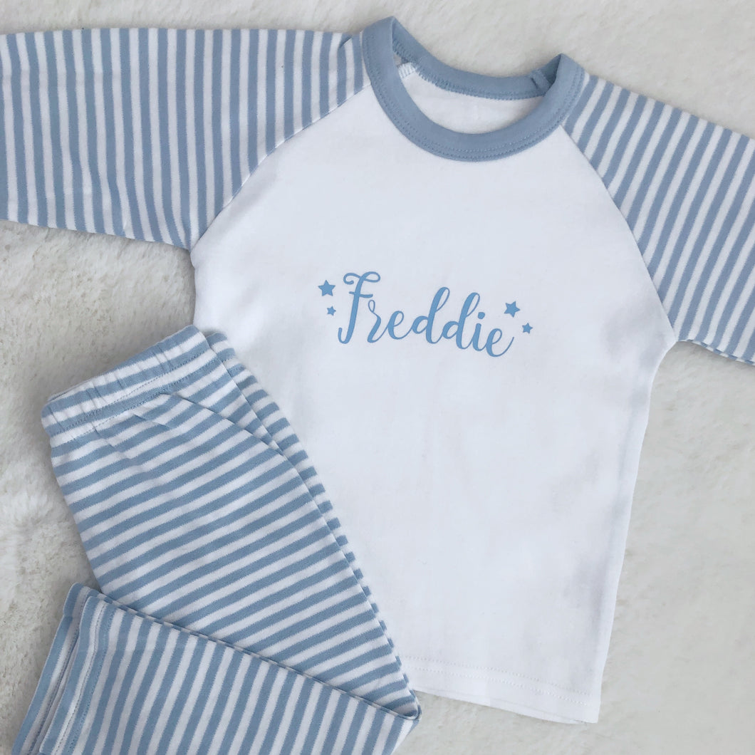 Personalised Kids Striped Pyjamas
