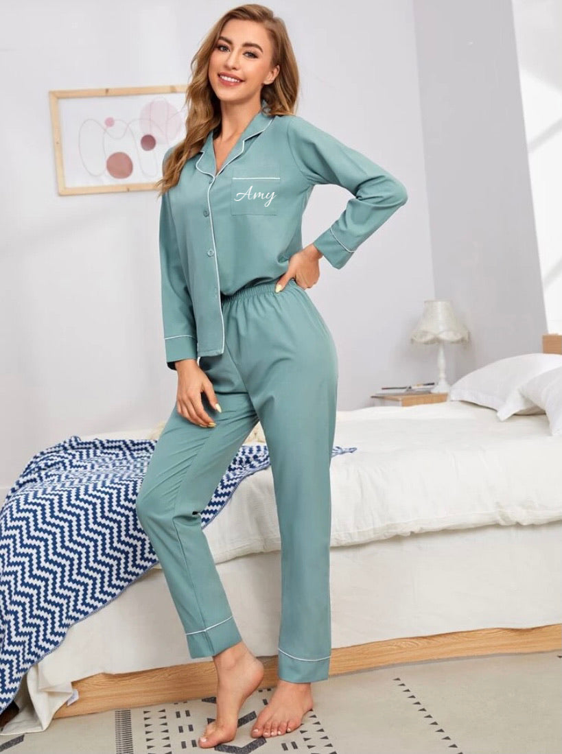 Long Teal Blue Pyjamas