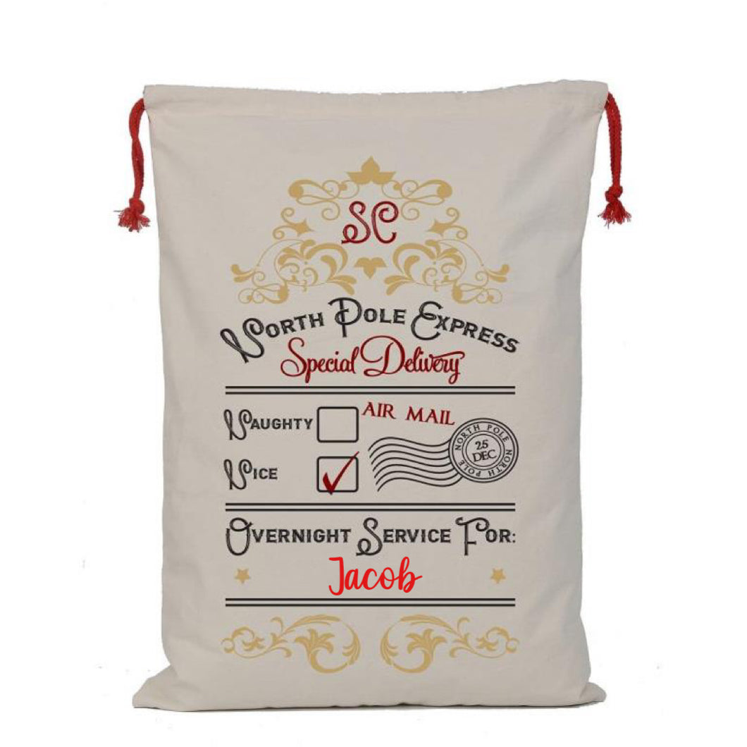 Personalised North Pole Special Delivery Santa Sack