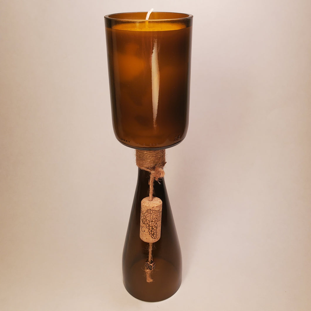 Amber Hand-Cut Upside-Down Wine Bottle Candle - Choose Your Scent