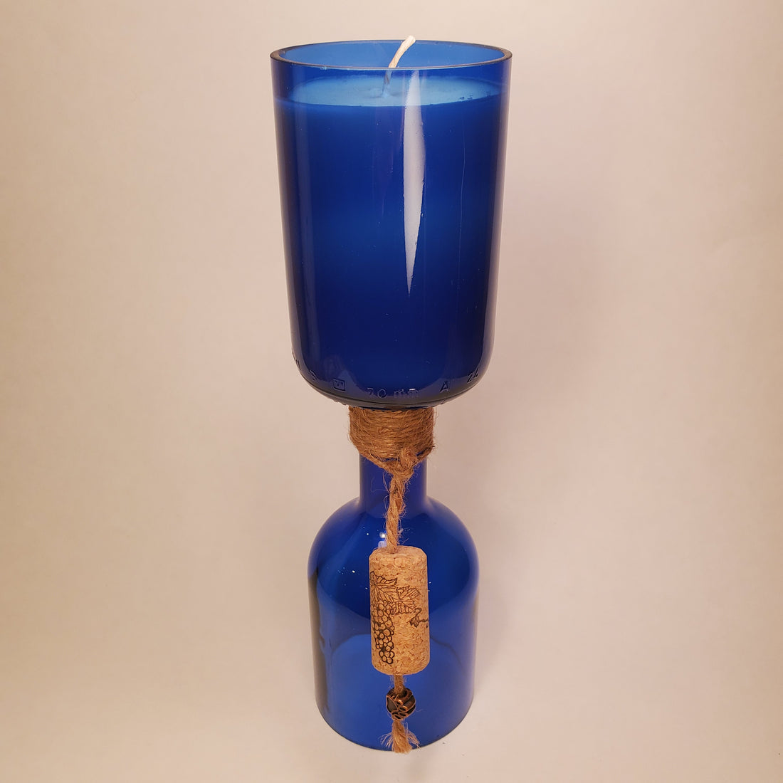 Cobalt Blue Hand-Cut Upside-Down Wine Bottle Candle - Choose Your Scent