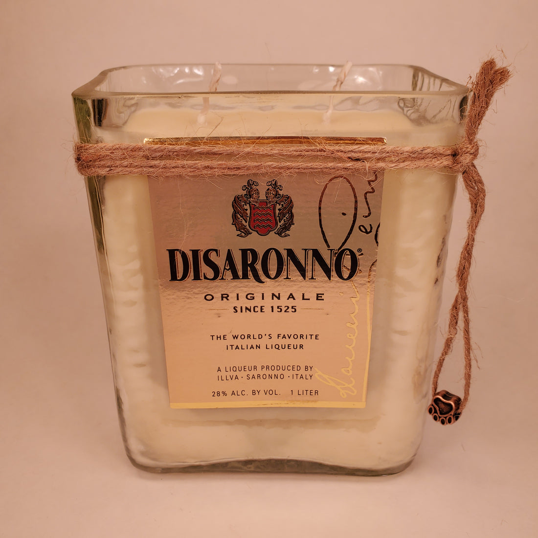 Disaronno 1L Hand Cut Upcycled Liquor Bottle Candle - Scent - Butterscotch Bourbon