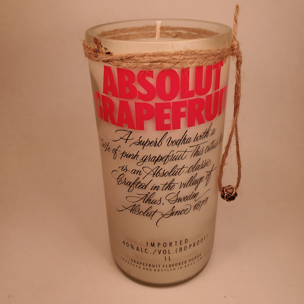Absolut Grapefruit Vodka 1L Hand Cut Upcycled Liquor Bottle Candle - Scent - Grapefruit and Mint