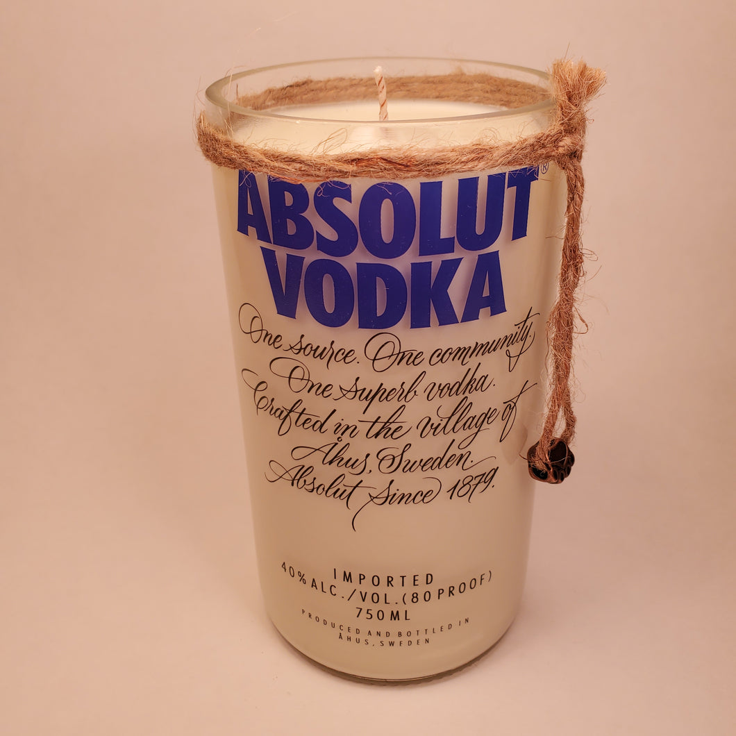 Absolut Vodka 750ml Hand Cut Upcycled Liquor Bottle Candle - Scent - Citron and Mandarin