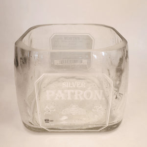Patron Silver 750ml Hand Cut Upcycled Liquor Bottle Candle - Choose Your Scent
