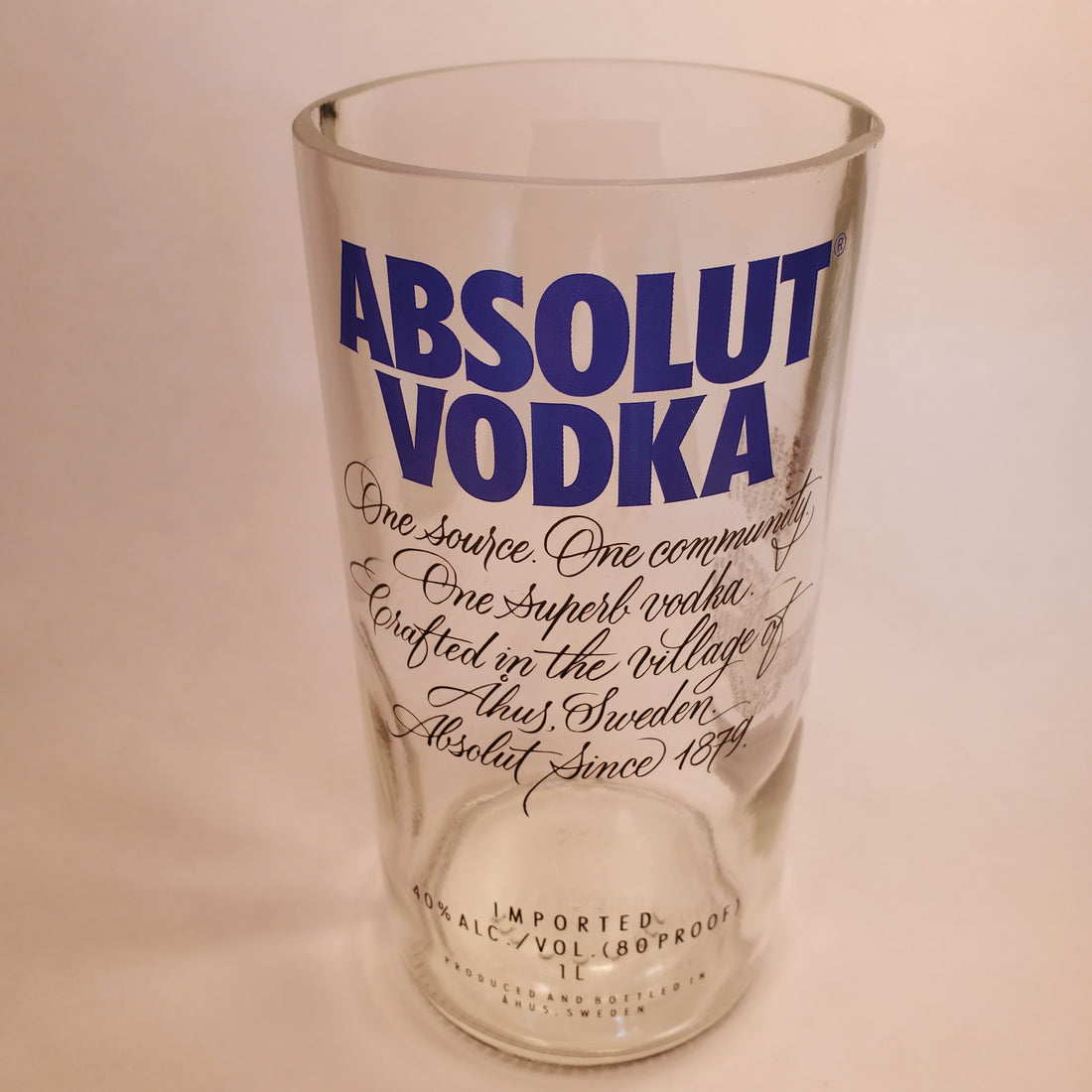 Absolut Vodka 1L Hand Cut Upcycled Liquor Bottle Candle - Choose Your Scent