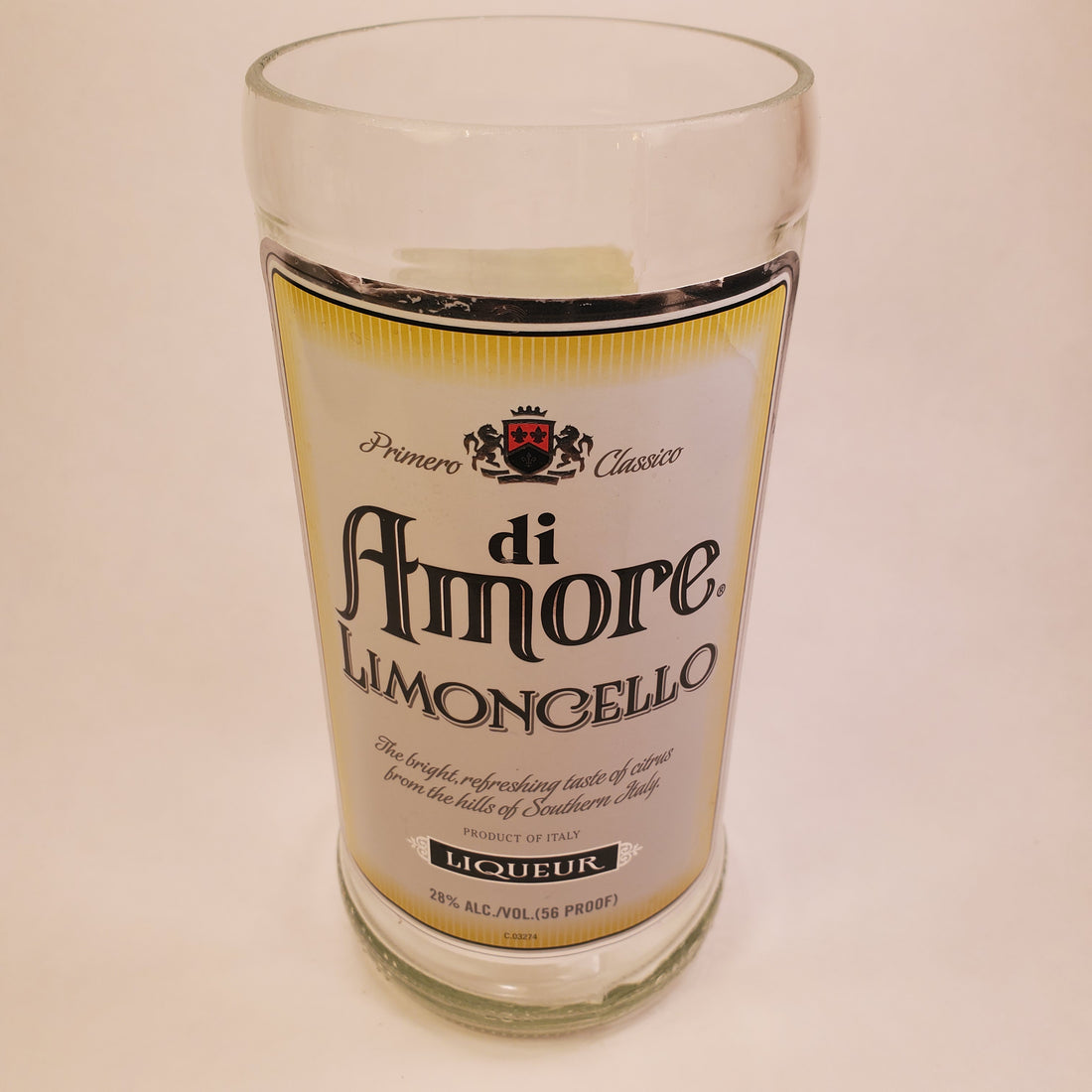 di Amore Limoncello 1L Hand Cut Upcycled Liquor Bottle Candle  - Choose Your Scent