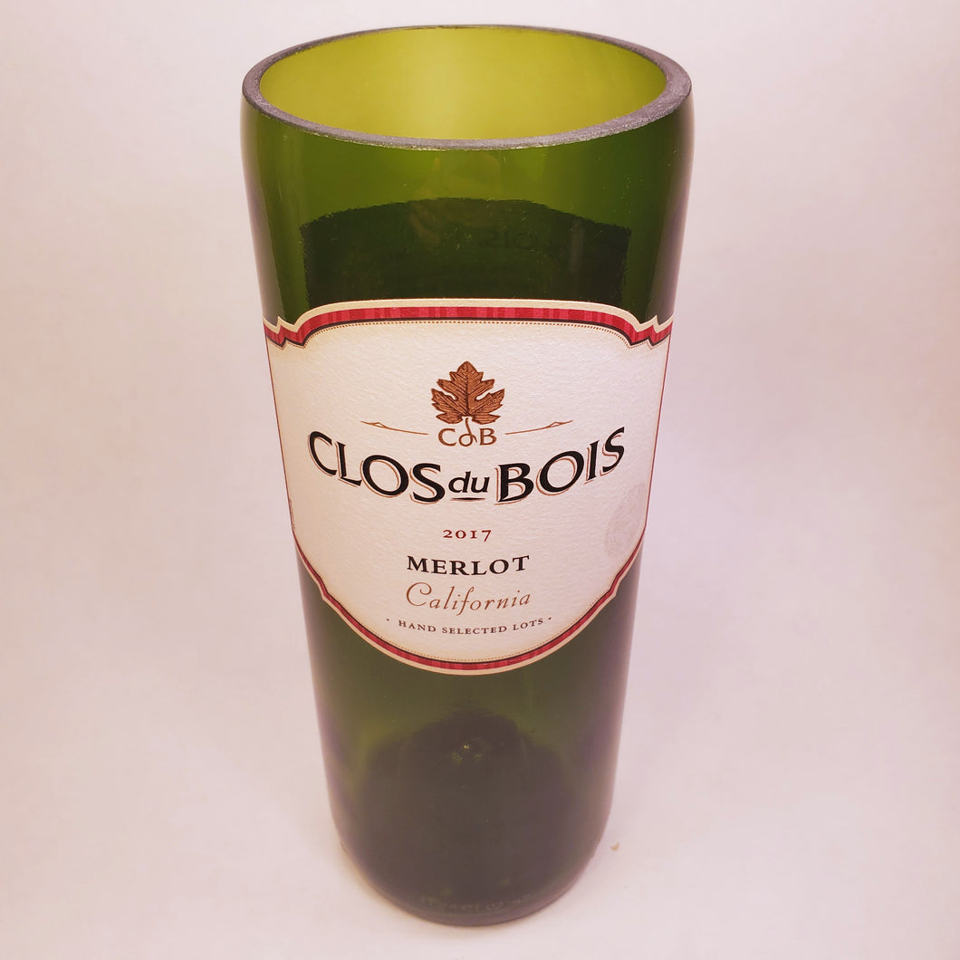 Clos Du Bois Merlot Hand Cut Upcycled Wine Bottle Candle - Choose Your Scent