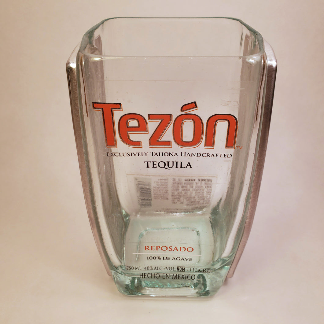 Tezon Tequila 750ml Hand Cut Upcycled Liquor Bottle Candle - Choose Your Scent