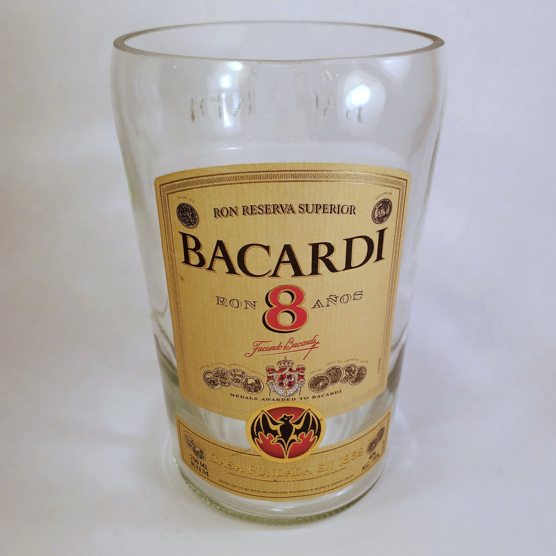 Bacardi Reserva 8 Anos Rum 750ml Hand Cut Upcycled Liquor Bottle Candle - Choose Your Scent
