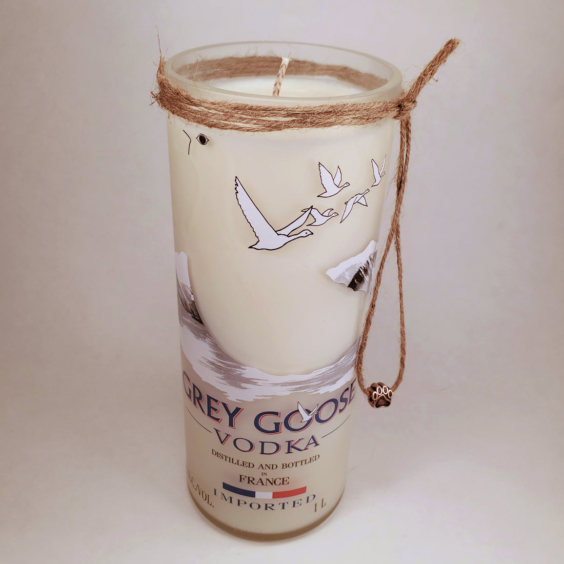 Grey Goose Vodka 1L Hand Cut Upcycled Liquor Bottle Candle - Scent - Citron and Mandarin