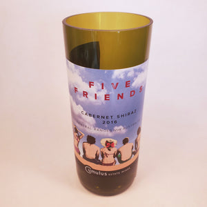Five Friends Cabernet Shiraz Hand Cut Upcycled Wine Bottle Candle - Choose Your Scent