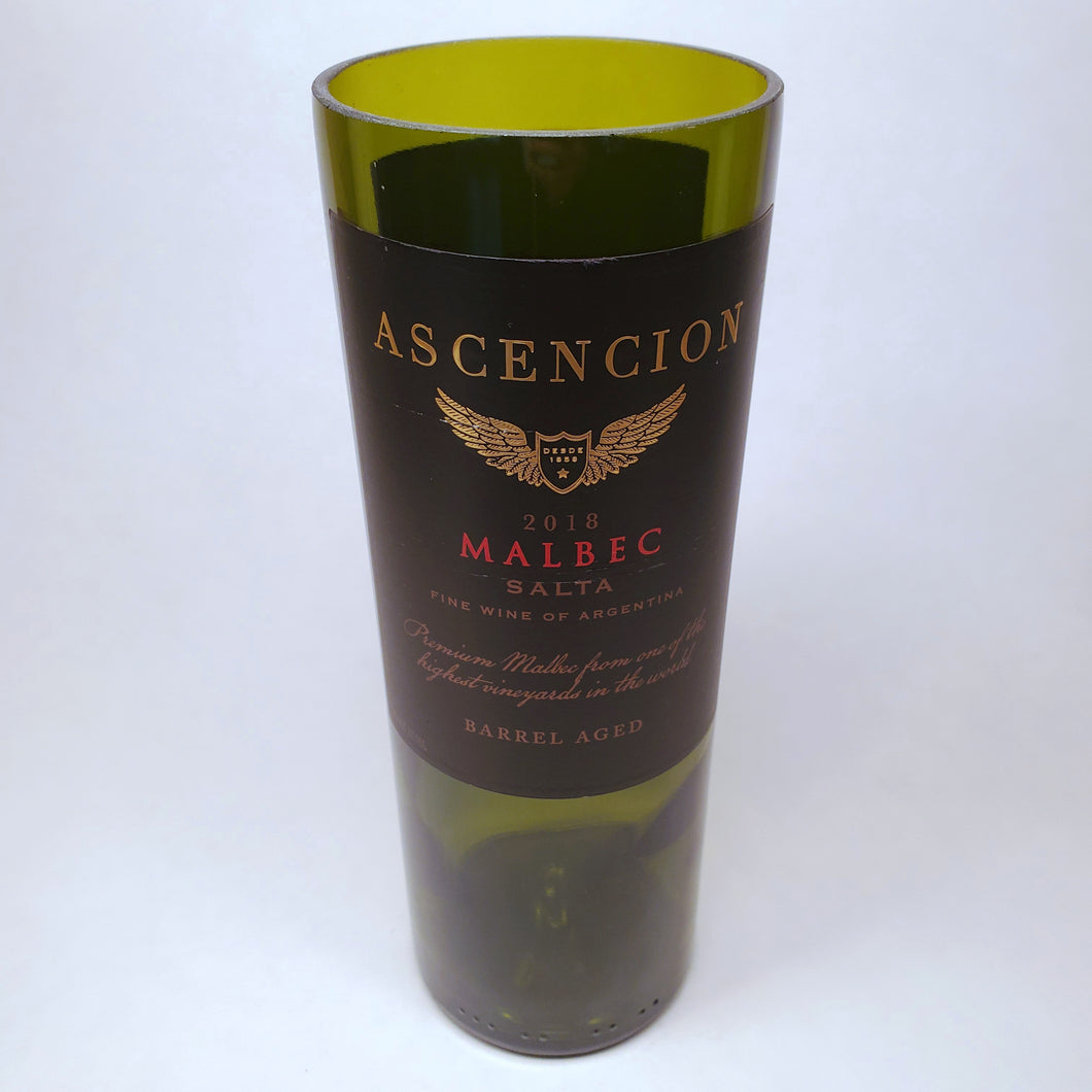 Ascencion Malbec 2018 Salta, Argentina Hand Cut Upcycled Wine Bottle Candle - Choose Your Scent