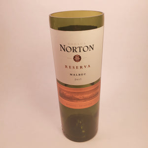 Bodega Norton Reserve Malbec 2017 Hand Cut Upcycled Wine Bottle Candle - Choose Your Scent