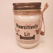 Load image into Gallery viewer, Mediterranean Fig Scented Pawsitively Lit 100% Soy Wax  Mason Jar Candle