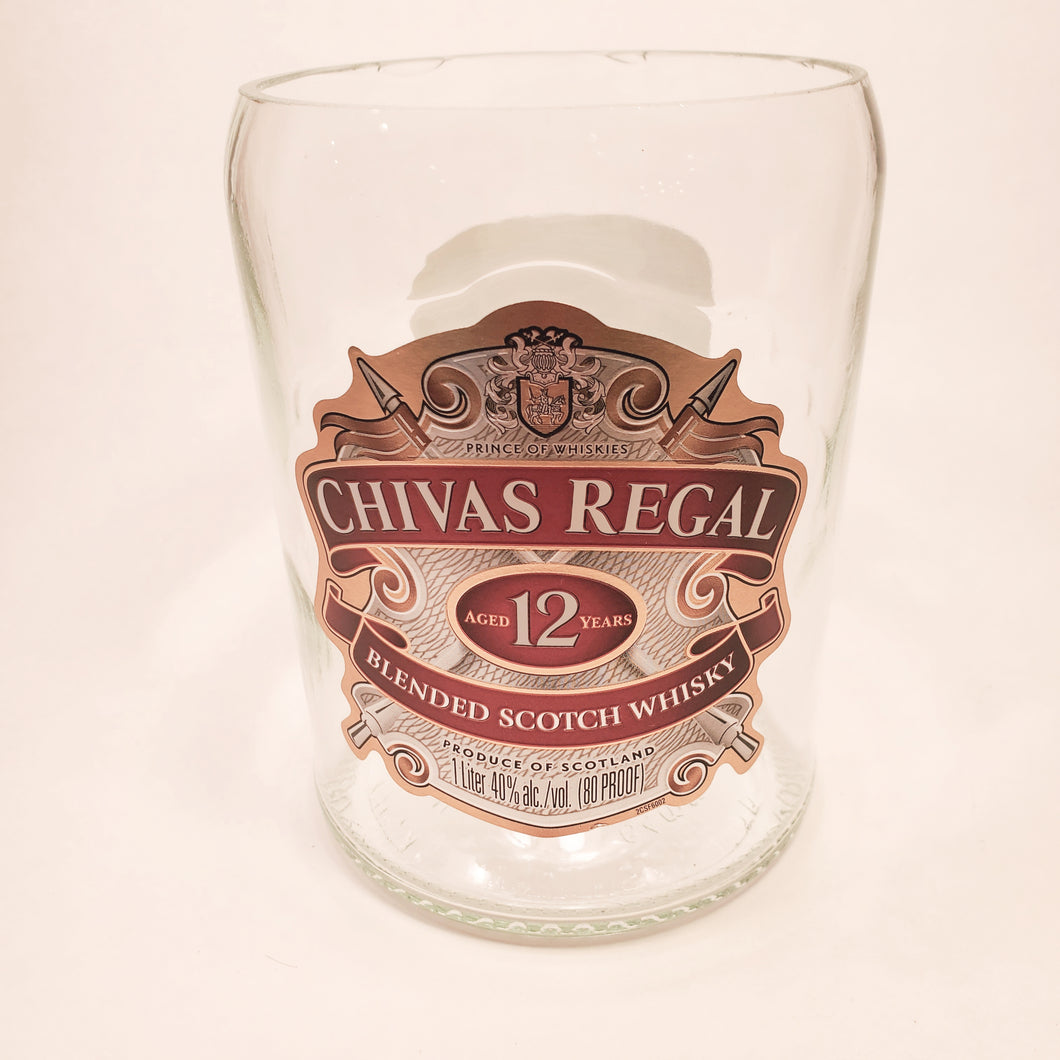 Chivas Regal Blended Scotch Whisky 1L Hand Cut Upcycled Liquor Bottle Candle - Choose Your Scent