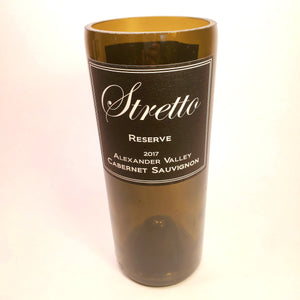 Stretto Reserve Cabernet Sauvignon 2017 Hand Cut Upcycled Wine Bottle Candle - Choose Your Scent