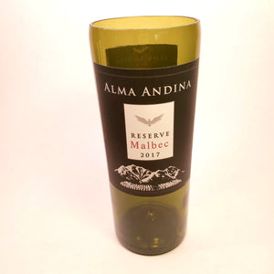 Alma Andina Malbec Reserve 2017 Hand Cut Upcycled Wine Bottle Candle - Choose Your Scent