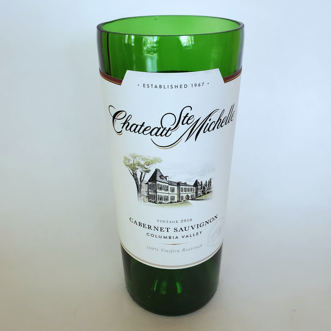 Chateau Ste Michelle Cabernet Sauvignon Hand Cut Upcycled Wine Bottle Candle - Choose Your Scent
