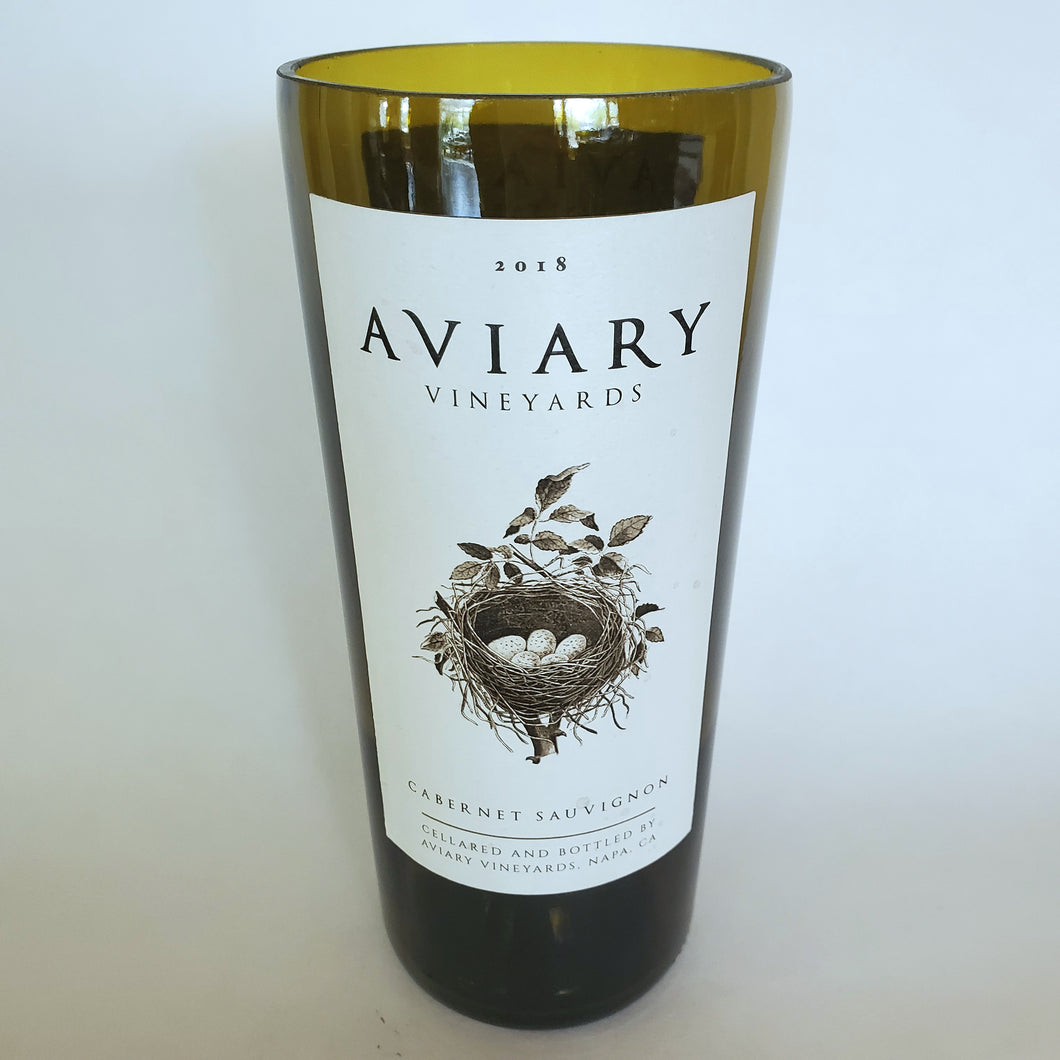 Aviary Vineyards Cabernet Sauvignon 2018 Hand Cut Upcycled Wine Bottle Candle - Choose Your Scent