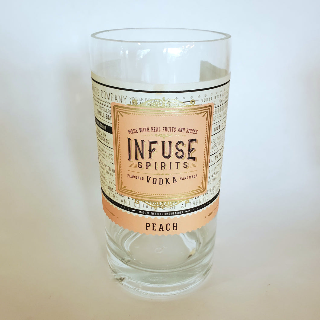 Infuse Spirits Peach Vodka 750ml Hand Cut Upcycled Liquor Bottle Candle  - Choose Your Scent