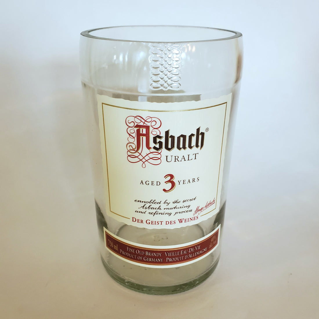 Asbach Uralt Brandy 750ml Hand Cut Upcycled Liquor Bottle Candle  - Choose Your Scent