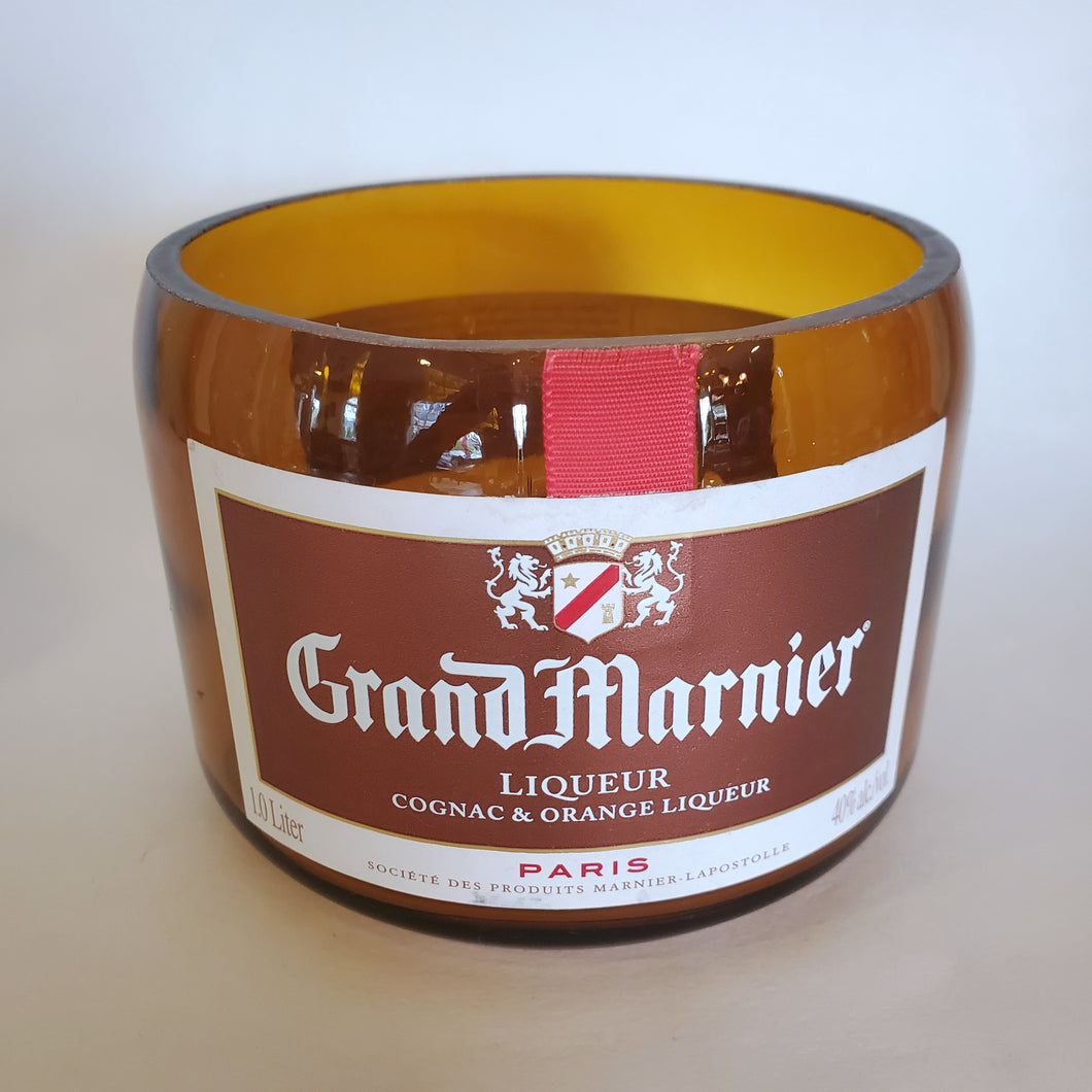 Grand Marnier 1L Hand Cut Upcycled Liquor Bottle Candle  - Choose Your Scent